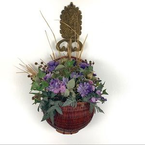 Vintage Purple Faux Floral Arrangement Basket Hang